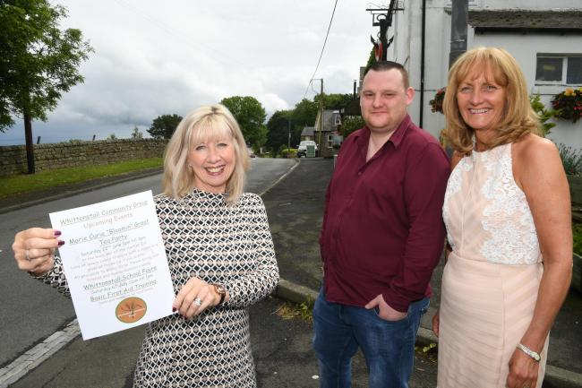 Group member Christine Jewitt with Whittonstall Community Group chairman Dan Flory and Karen Reay, the landlady of the Anchor Inn.