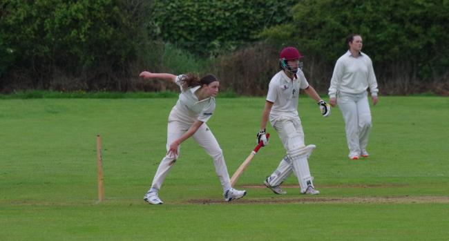 Matfen Hall's Ellie Tiffin bowls at a Wylam batsman. Photo: LISA SCOTT