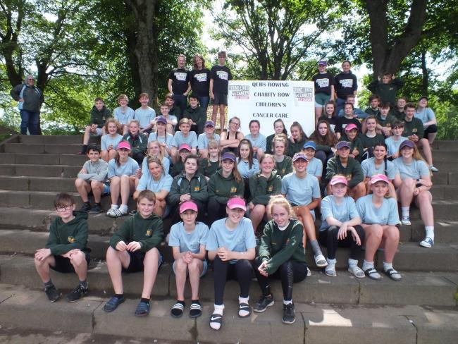 The 52 members of Hexham's Queen Elizabeth High School Rowing Club who paddled a combined total of 371 miles during their four-hour charity row.