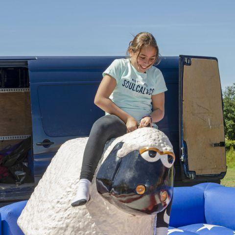 Araceli Sanchez on the rodeo sheep during last year's Prudhoe Highfield Fest.   Photo: MOIRA WOOLDRIDGE