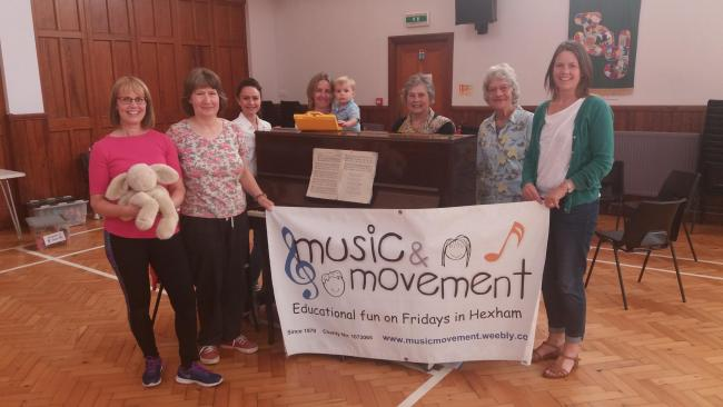 Music and Movement leaders Sheelagh Jones, Julie Finch and Evi Horrocks with Susanna Dawson and her Grandson Dawson Smith, and Music and Movement Founders Judie Singleton and Alice Emmerson.