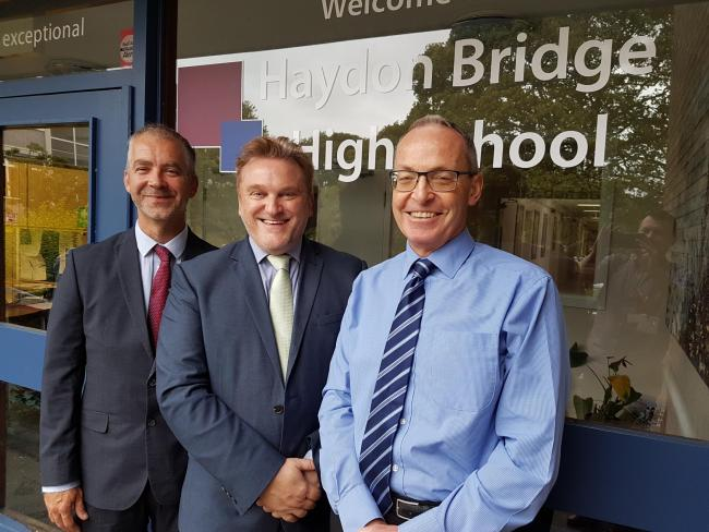 From the left, headteacher Darren Glover, Coun. Wayne Daley, and director of education Dean Jackson at Haydon Bridge High School.
