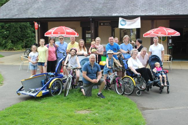 Residents from Red Brick Care Home with councillors and Prudhoe residents at a cycling without age trial run held at Prudhoe Riverside Park.