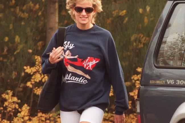 Diana, Princess of Wales wearing the Virgin Atlantic sweatshirt