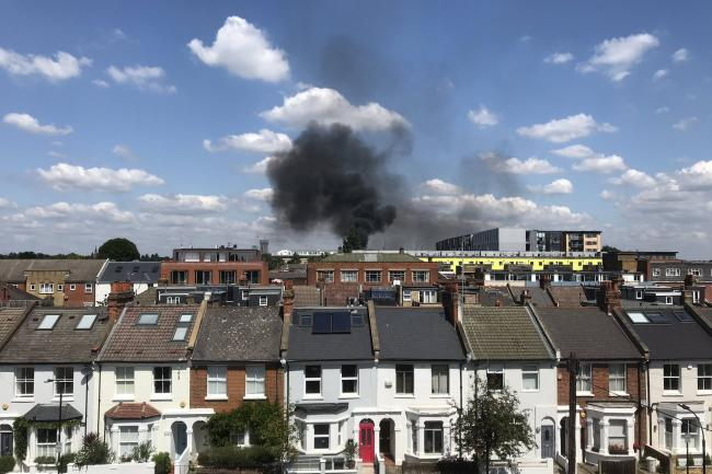 The blaze took hold at a block of flats in Acton, west London