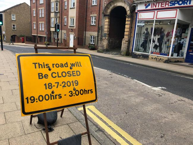 Hexham road closed on Thursday