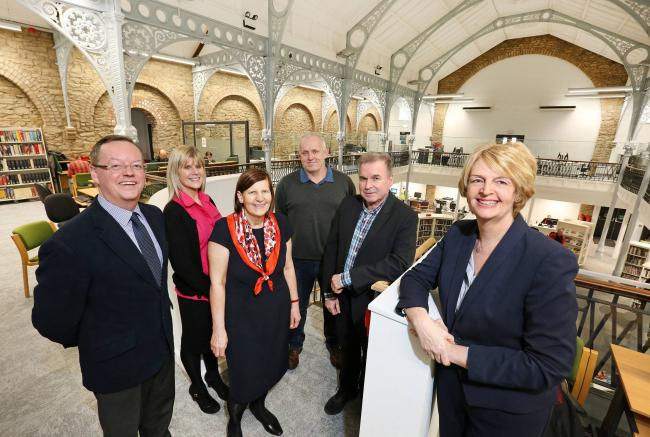 There was great delight when Hexham Library was refurbished. From the left are Northumberland County Council leader Peter Jackson, assistant customer information centre manager Vicki Atkinson, senior librarian Jenny Kinnear, ward councillor Trevor Cessfor