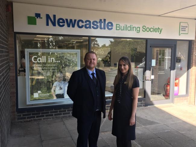 Sean Cook and branch manager Charlotte Williams outside the upgraded Ponteland branch of Newcastle Building Society.