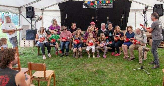 Ukulele workshops run by Ian K. Brown are always popular at Redefest.