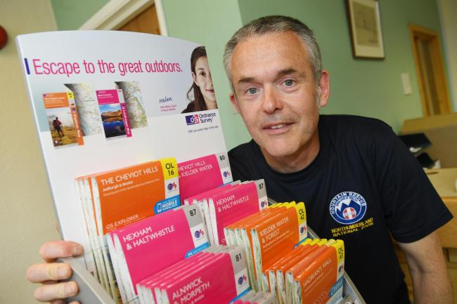 David Manson from Northumberland National Park Mountain Rescue Team with some of the maps donated by the Hexham Courant to the team. 								   Photo: HX301938