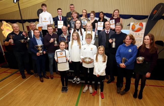 All of the winners at last year's Sport Tynedale Awards with special guest, BBC sports commentatory John Murray (middle row second from right), from Sewingshields near Haydon Bridge.        Photo: PAUL NORRIS