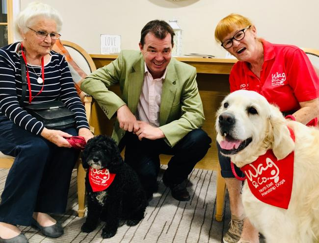 Hexham's MP Guy Opperman at Acomb Court Care Home with WAG and Company friendship dogs, Tattie and Cassie and their owners Audrey and Judy.