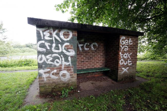 A shelter at Tyne Green Country Park, in Hexham, has been daubed with graffiti.                                                       Photo: PAUL NORRIS