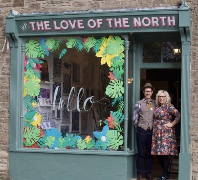 Paul and Lucy Hull at the entrance of their shop, For The Love of the North, in Corbridge. Photo: IAN WYLIE