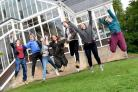 QEHS students celebrate A-Level results in 2018. Photo: HX351806.