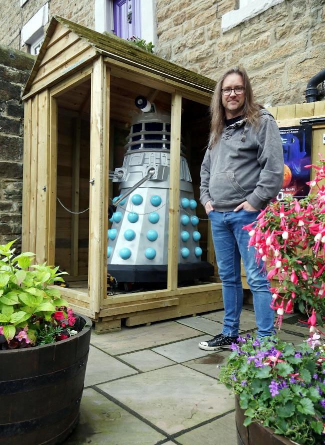 Neil Cole with his Dalek at the Science Fiction Museum in Allendale.....Picture Paul Norris.