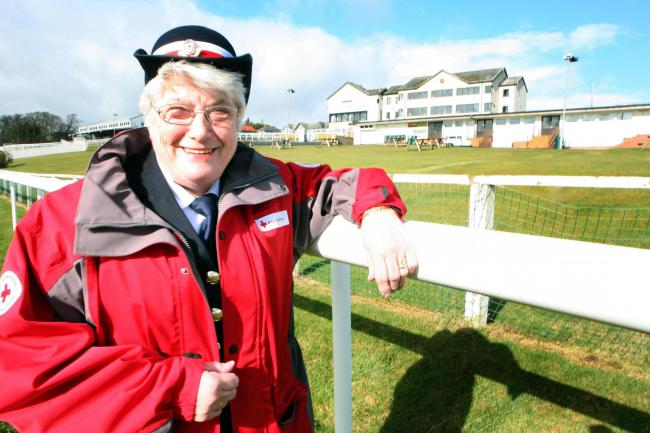 Mary Robinson MBE, pictured at Hexham Racecourse, where she regularly provided first aid.