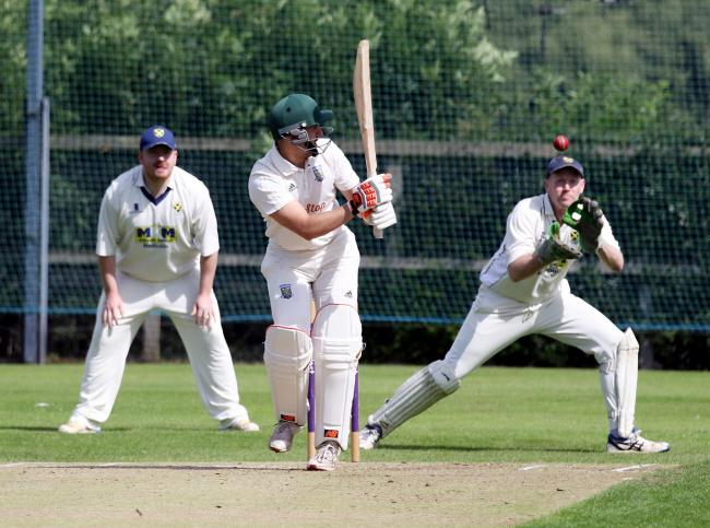 Tynedale II wicketkeeper Paul Scandle watches one all the way in their defeat to Lanchester  II.