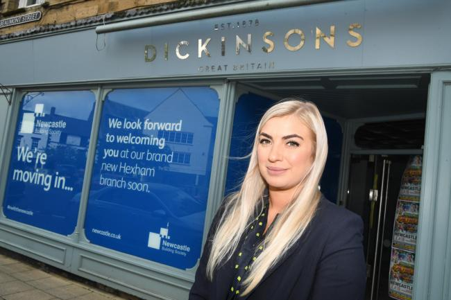The Hexham branch manager of Newcastle Building Society, Hannah Samuel, outside the new site.