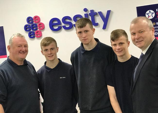 Essity apprentice brothers Matthew, Jamie and Sam Robson with Essity apprentice team leader Ian Callender (left) and Ivan Jepson, business development director at training provider Gateshead College.