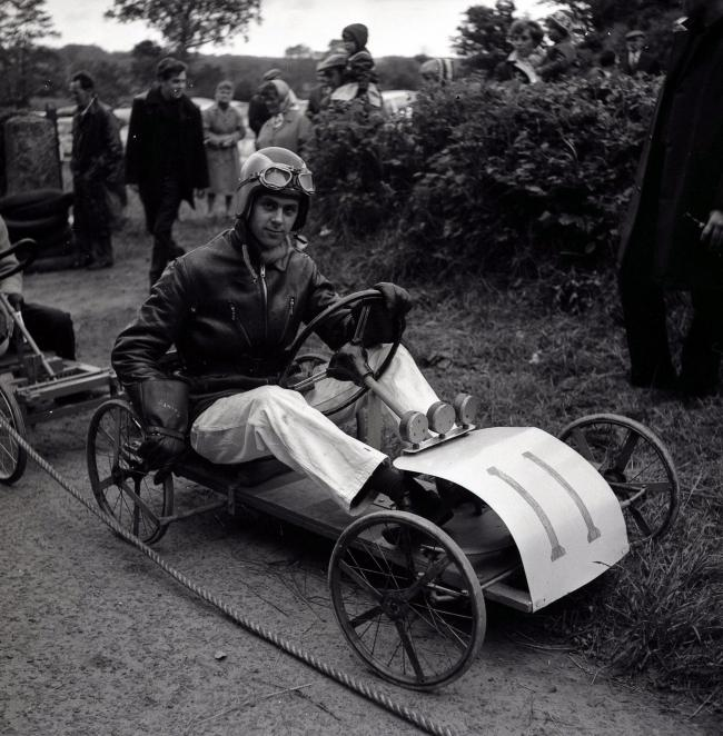 One of the entrants in a soapbox derby, which took place at Spadeadam on June 24, 1965.