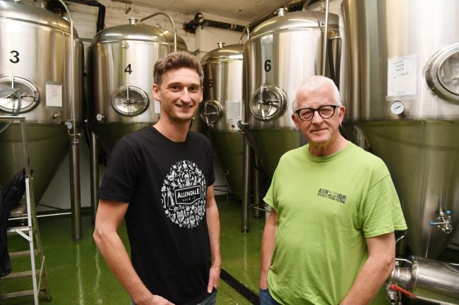 Neil Thomas (left) from Allendale Brewery with folk festival organiser, Peter Aldcroft. Photo: HX361923