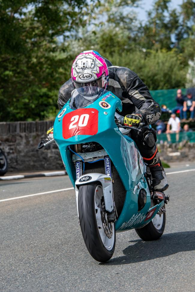 Hexham rider Mark Kirkby on his way to success in the Newcomers B class at the Manx GP, in the Isle of Man.                                  Photo: RICHARD MARTIN