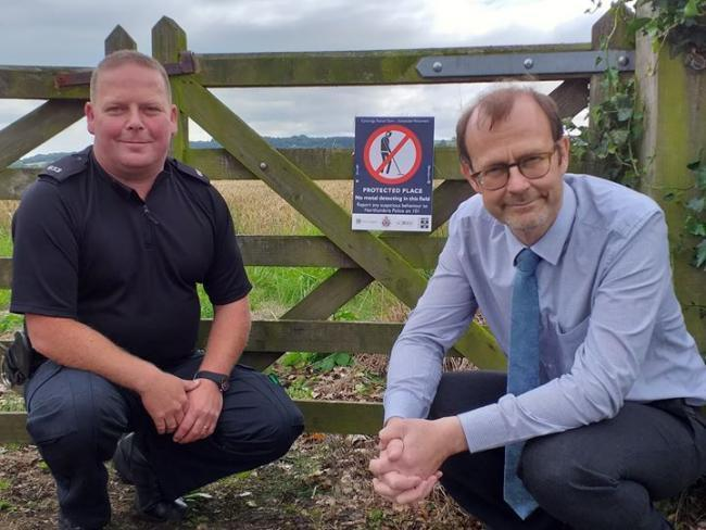 Northumbria Police's PC Lee Davison and Mike Collins, Historic England's inspector of ancient monuments for Hadrian's Wall, at Corbridge Roman Town.