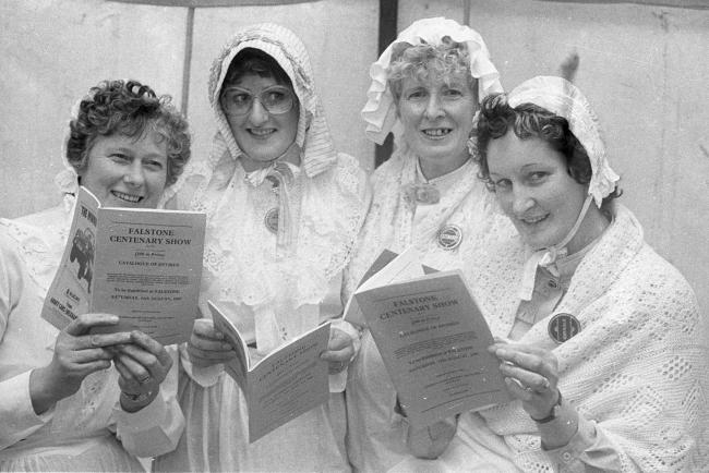 The clock went back 100 years at Falstone Show in 1985, when these four women were among those who donned dresses similar to those which would have been worn at the original show. They are, from the left, Rosie Robinson, Helen Banks, Jean Russell and Agne