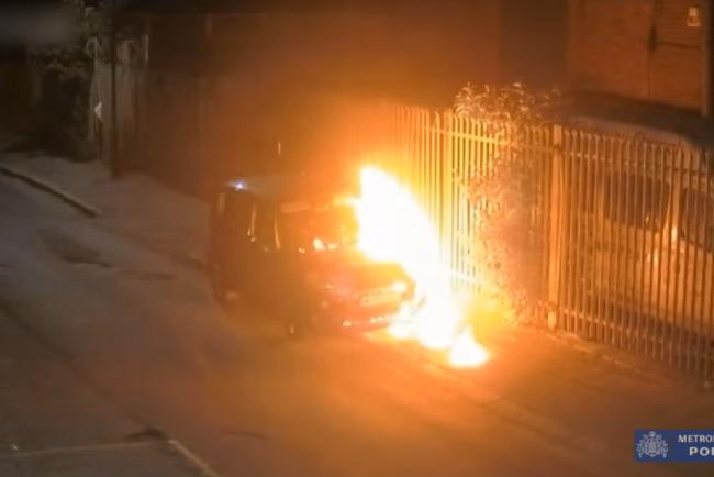 The car being torched in Ilford