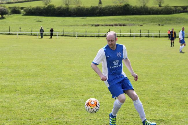 Norman Calvert on the ball for Haltwhistle Jubilee during their 3-0 victory over Hexham Phoenix.