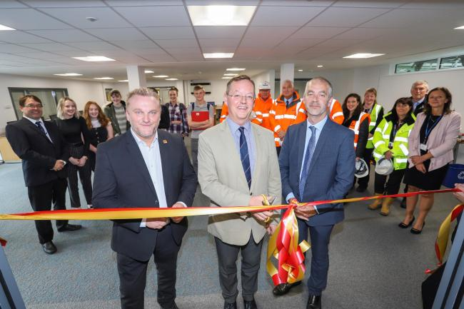 Northumberland County Council deputy leader Wayne Daley, leader Peter Jackson and Haydon Bridge High School headteacher Darren Glover cut the ribbon to declare the school's new sixth form centre open.