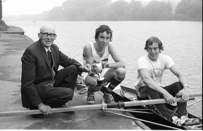 "Three Hexham scullers turned back the clock half a century in 1980 in the prestige ""Newcastle 900"" sculling event. Presenting the trophy to 17-year-old Steven Phillip is 79-year-old Jack Hopper, along with runner-up Tony Anderson. In 1933 Mr H"