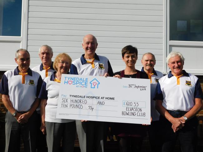 Tynedale Hospice at Home community fund-raiser Megan West (third from right) collects a cheque from Hexham Elvaston Bowling Club members, from left, Brian Norman, Trevor Field, Jean Allen, president Mark Terry, David Robinson and Paul Jones.