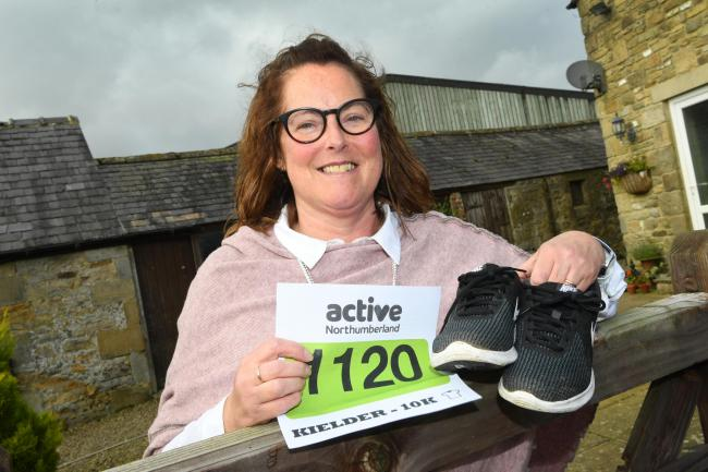 Sheena Robinson from Greenhaugh prepares for the Kielder 10k after having a double lung transplant. 														     Photo: HX421966