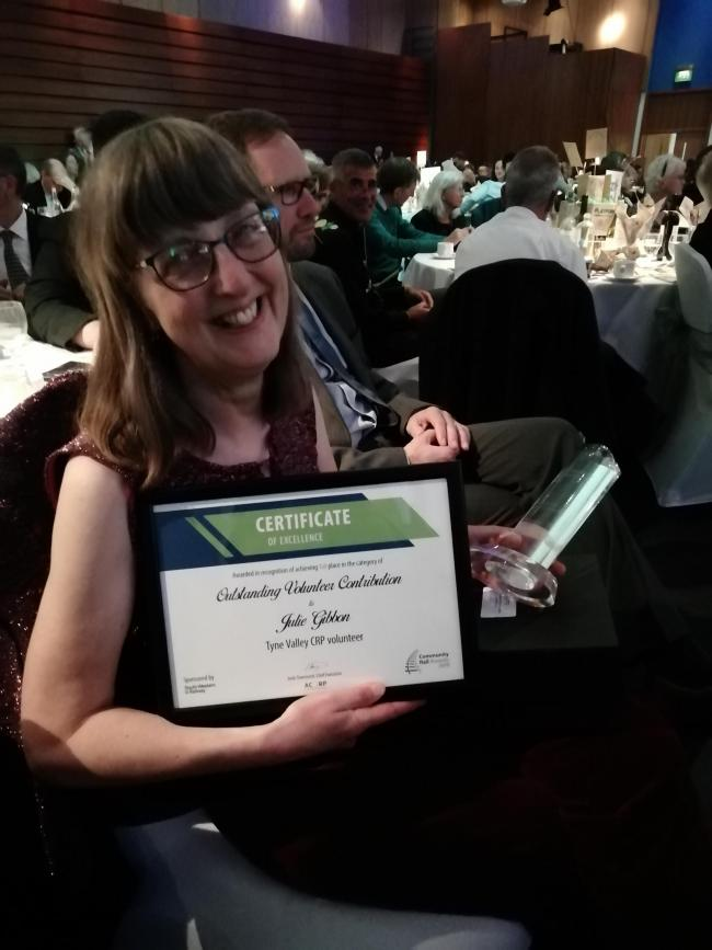 Julie Gibbon with her Community Rail Partnership award.