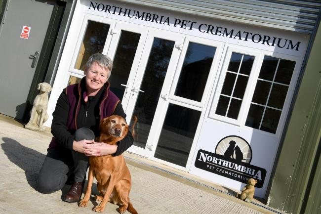 Business owner Paula Parsons with dog Abbey at the Northumbria Pet Crematorium. 		        Photo: HX421968