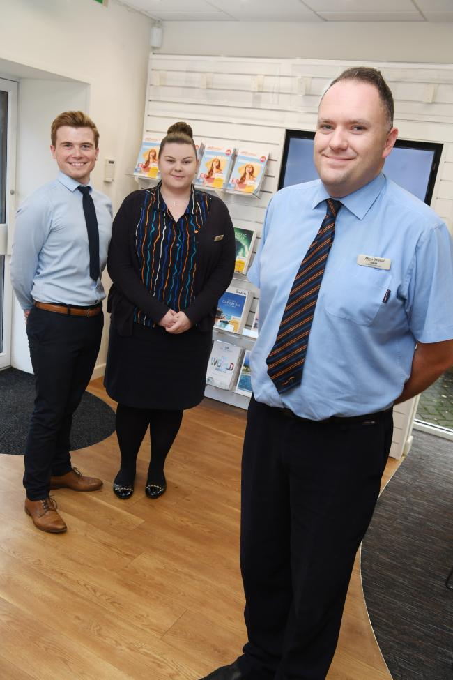Dominic Graydon, Carmel Moore and Prudhoe branch manager David Musson. 	       Photo: KATE BUCKINGHAM