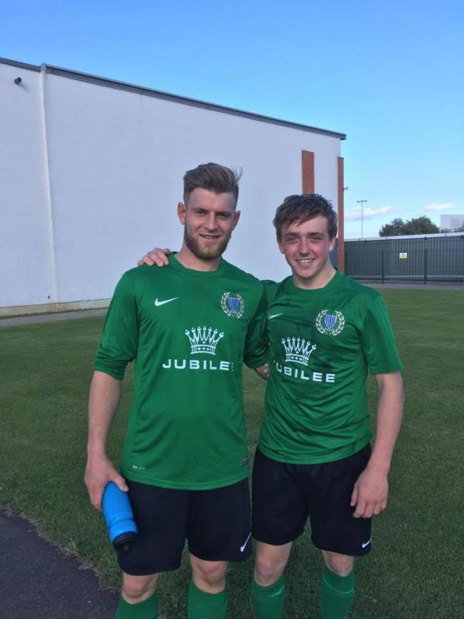 Haltwhistle Jubilee's Greg Irwin (left), who scored a hat-trick against Stobswood Welfare is pictured with man of the match Jack Barker.
