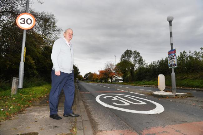 Coun. Gordon Stewart has raised concerns about speeding, near the entrance to the Cottier Grange estate in Prudhoe. 							    Photo: HX441931