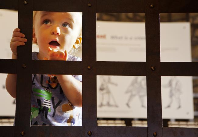 A young visitor explores Hexham Old Gaol which will host a skull trail.