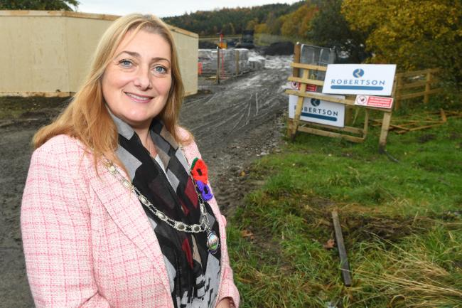 Prudhoe Mayor, Coun. Tracy Gilmore at the site where work has started on the Tyneview Retail Park. 	    Photo: HX461925