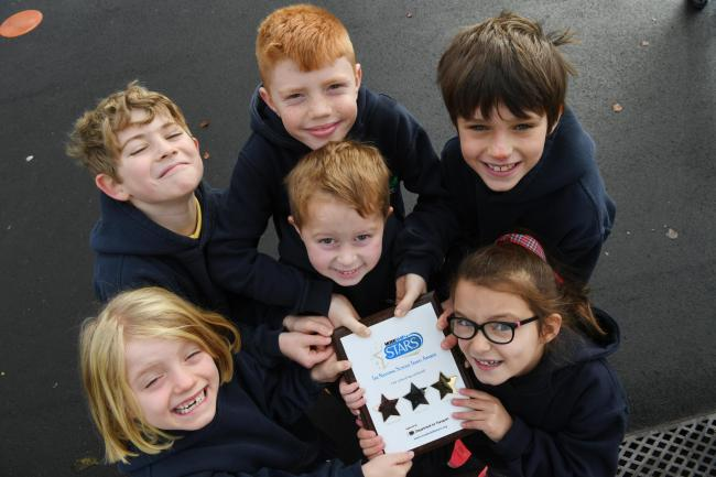 Esther Clarke, Henry Goldberg, Tom Clarke, Jack Short, Arthur Darling and Hollie Clegg show off Allendale Primary School's gold Modeshift STARS award. 				 Photo: KATE BUCKINGHAM