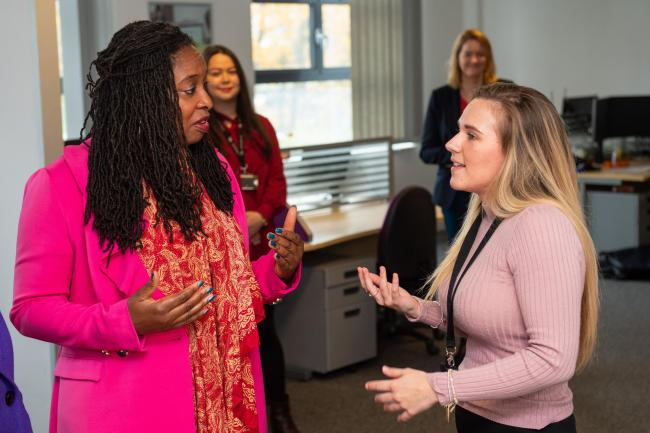 Dawn Butler during a visit to launch Labour's plan for women in the workplace, at the Business and Technology Centre in Stevenage