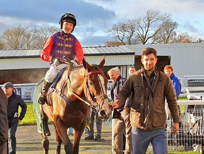 Jockey Tom Buckley on No Trumps, owned by the Queen, which won at Hexham Racecourse.