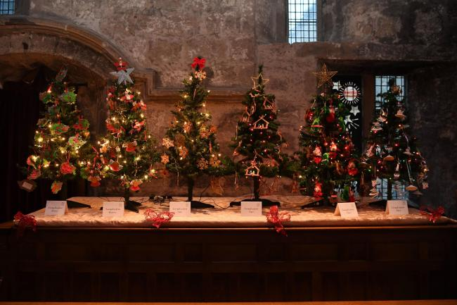 Corbridge First School trees at St Andrew's Church Christmas tree festival in the village. Photo: HX501814. KATE BUCKINGHAM.