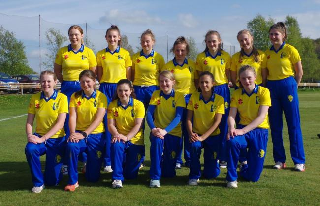 Katie Chomse, back row first from left; Ellie Tiffin, back row second from left; Lizzie Scott, back row second from right; Harriet Robson, front row second from left; Ciara Boaden, front row second from right, who are travelling to the United Arab Emirate