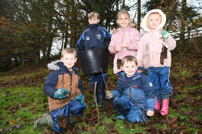 Chollerton First School pupils Robbie Pound, Sam McArdle, Grace Batten, Bertie Landale and Isabella Nixon help plant trees within the school grounds. 					Photo: HX491926