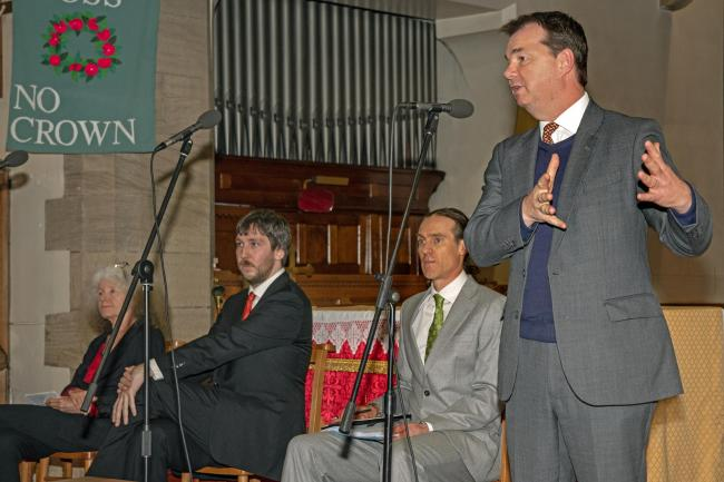 (R-L) Labour's Penny Grennan, Liberal Democrat candidate Stephen Howse, The Green Party's Nick Morphet, and Guy Opperman of the Conservatives at the hustings in Prudhoe. Photo: Moira Wooldridge