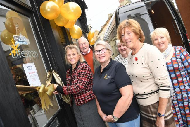 Patron of Lifespan, Lady Anna Blackett opens the charity shop on Market Street, Hexham with from the left, David Grey Sheila Webb, Ann Holmes, Liz Graham and Dorothy Bell. 					       Photo: HX461917